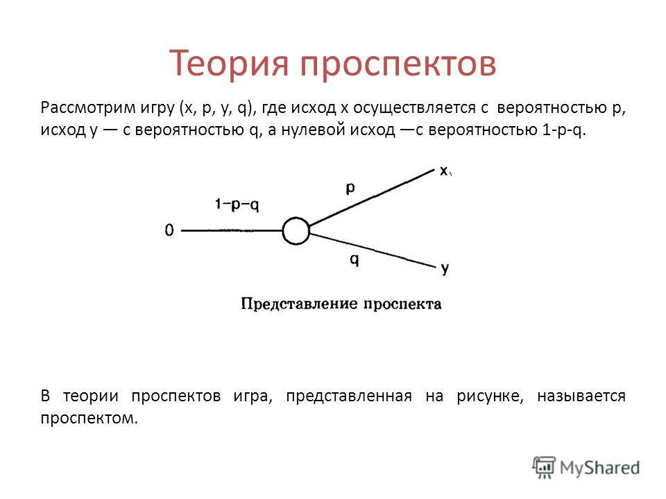 Теория проспектов Рассмотрим игру (х, р, у, q), где исход х осуществляется с вероятностью р, исход у с вероятностью q, а нулевой исход с вероятностью 1-p-q. В теории проспектов игра, представленная на рисунке, называется проспектом.