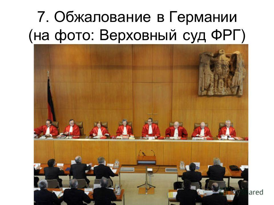 7. Обжалование в Германии (на фото: Верховный суд ФРГ)