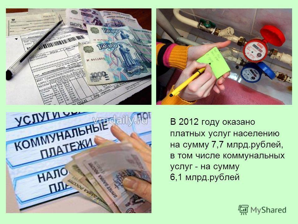 В 2012 году оказано платных услуг населению на сумму 7,7 млрд.рублей, в том числе коммунальных услуг - на сумму 6,1 млрд.рублей