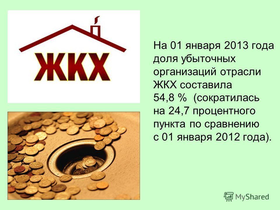 На 01 января 2013 года доля убыточных организаций отрасли ЖКХ составила 54,8 % (сократилась на 24,7 процентного пункта по сравнению с 01 января 2012 года).
