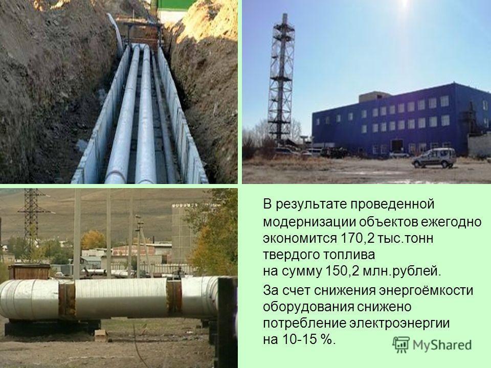 В результате проведенной модернизации объектов ежегодно экономится 170,2 тыс.тонн твердого топлива на сумму 150,2 млн.рублей. За счет снижения энергоёмкости оборудования снижено потребление электроэнергии на 10-15 %.