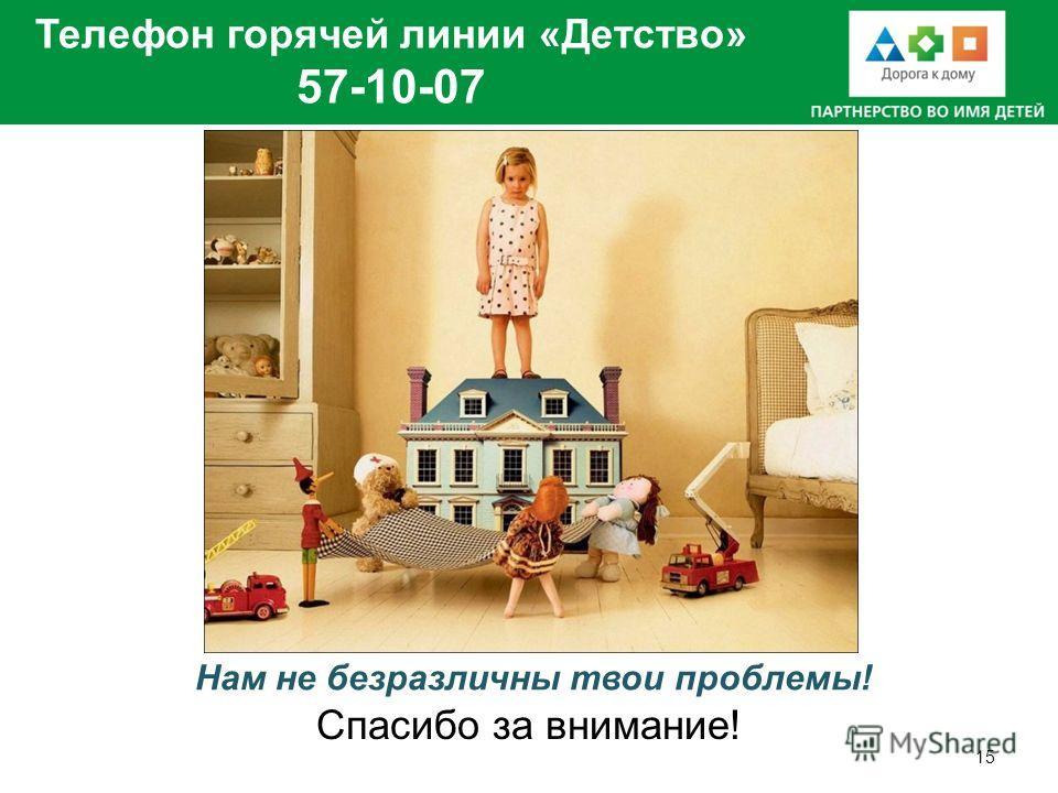 Телефон горячей линии «Детство» 57-10-07 15 Нам не безразличны твои проблемы! Спасибо за внимание!