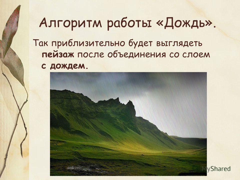 Алгоритм работы «Дождь». Так приблизительно будет выглядеть пейзаж после объединения со слоем с дождем.