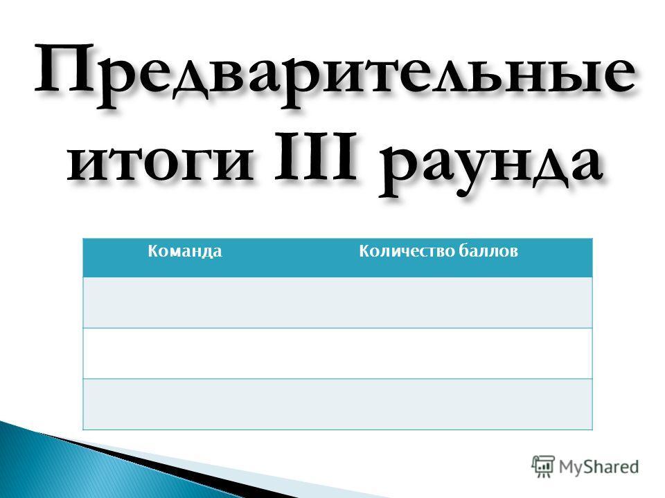 КомандаКоличество баллов Предварительные итоги III раунда