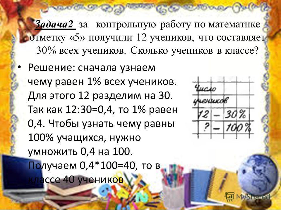 Задача2 за контрольную работу по математике отметку «5» получили 12 учеников, что составляет 30% всех учеников. Сколько учеников в классе? Решение: сначала узнаем чему равен 1% всех учеников. Для этого 12 разделим на 30. Так как 12:30=0,4, то 1% раве