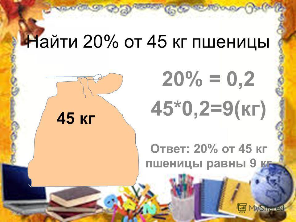 Найти 20% от 45 кг пшеницы 20% = 0,2 45*0,2=9(кг) Ответ: 20% от 45 кг пшеницы равны 9 кг 45 кг