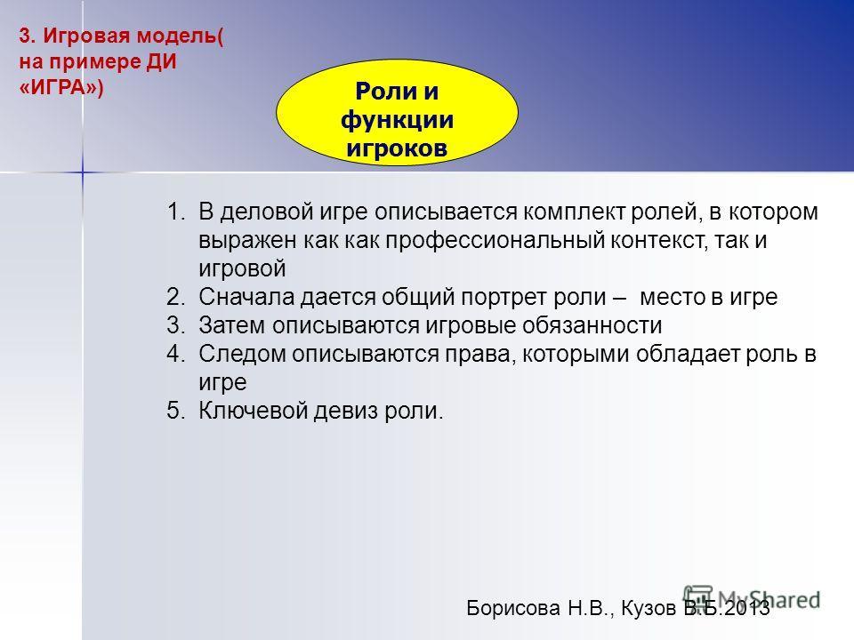 Борисова Н.В., Кузов В.Б.2013 Роли и функции игроков 3. Игровая модель( на примере ДИ «ИГРА») 1.В деловой игре описывается комплект ролей, в котором выражен как как профессиональный контекст, так и игровой 2.Сначала дается общий портрет роли – место