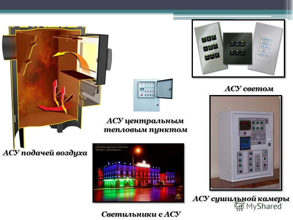 АСУ подачей воздуха АСУ светом АСУ сушильной камеры АСУ центральным тепловым пунктом Светильники с АСУ