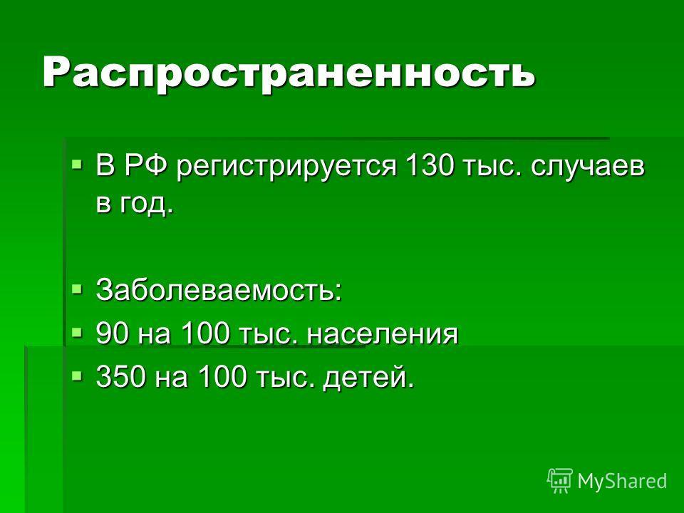 Распространенность В РФ регистрируется 130 тыс. случаев в год. В РФ регистрируется 130 тыс. случаев в год. Заболеваемость: Заболеваемость: 90 на 100 тыс. населения 90 на 100 тыс. населения 350 на 100 тыс. детей. 350 на 100 тыс. детей.