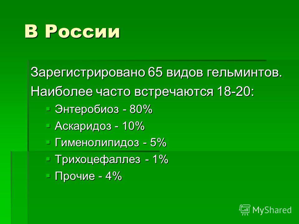 В России В России Зарегистрировано 65 видов гельминтов. Наиболее часто встречаются 18-20: Энтеробиоз - 80% Энтеробиоз - 80% Аскаридоз - 10% Аскаридоз - 10% Гименолипидоз - 5% Гименолипидоз - 5% Трихоцефаллез - 1% Трихоцефаллез - 1% Прочие - 4% Прочие