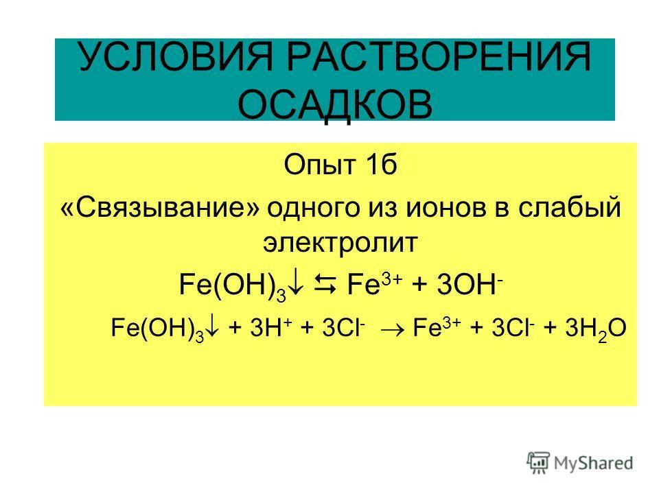 УСЛОВИЯ РАСТВОРЕНИЯ ОСАДКОВ Опыт 1б «Связывание» одного из ионов в слабый электролит Fe(OH) 3 Fe 3+ + 3OH - Fe(OH) 3 + 3Н + + 3Сl - Fe 3+ + 3Cl - + 3H 2 O