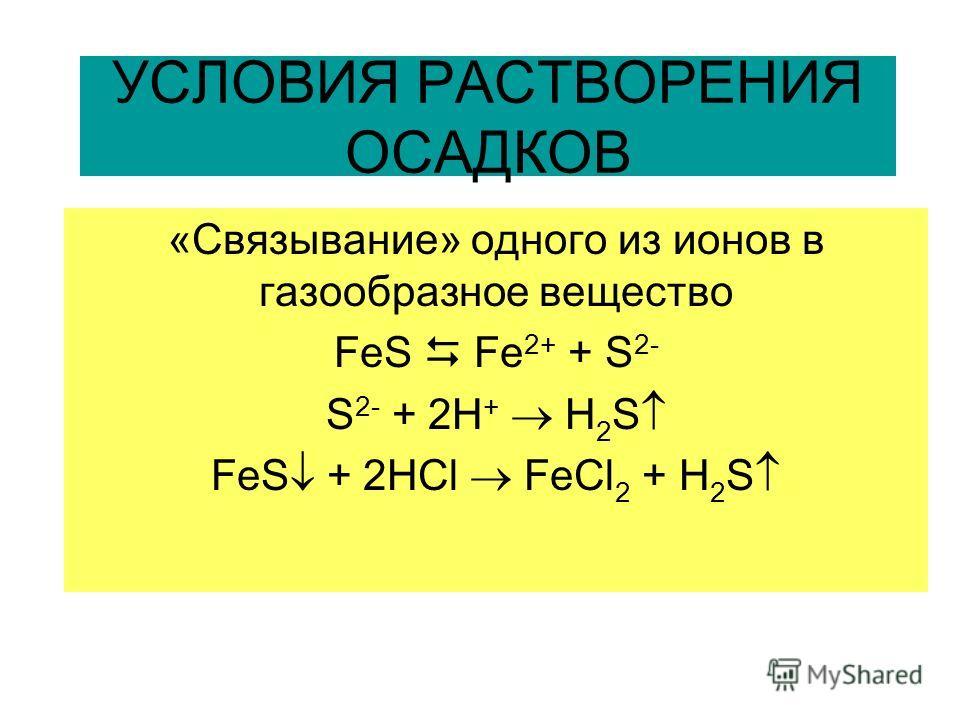 УСЛОВИЯ РАСТВОРЕНИЯ ОСАДКОВ «Связывание» одного из ионов в газообразное вещество FeS Fe 2+ + S 2- S 2- + 2H + H 2 S FeS + 2HCl FeCl 2 + H 2 S