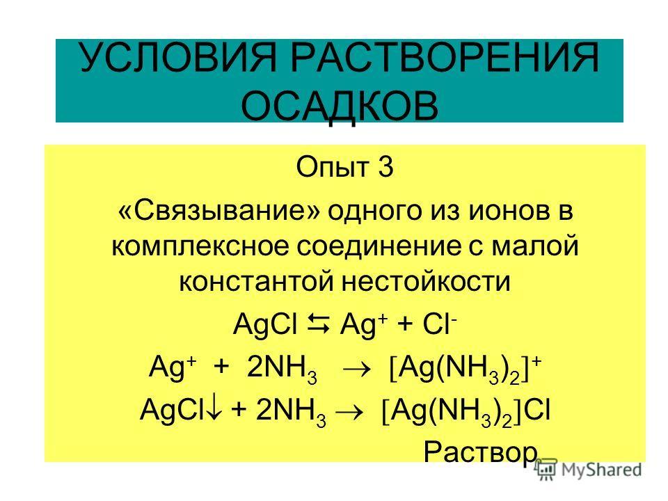 УСЛОВИЯ РАСТВОРЕНИЯ ОСАДКОВ Опыт 3 «Связывание» одного из ионов в комплексное соединение с малой константой нестойкости AgCl Ag + + Cl - Ag + + 2NH 3 Ag(NH 3 ) 2 + AgCl + 2NH 3 Ag(NH 3 ) 2 Cl Раствор