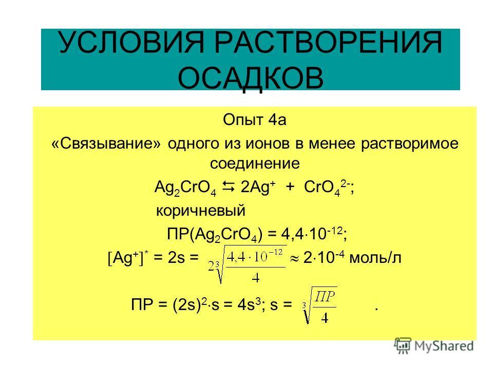 УСЛОВИЯ РАСТВОРЕНИЯ ОСАДКОВ Опыт 4a «Связывание» одного из ионов в менее растворимое соединение Ag 2 CrO 4 2Ag + + CrO 4 2- ; коричневый ПР(Аg 2 CrO 4 ) = 4,4 10 -12 ; Аg + * = 2s = 2 10 -4 моль/л ПР = (2s) 2 s = 4s 3 ; s =.