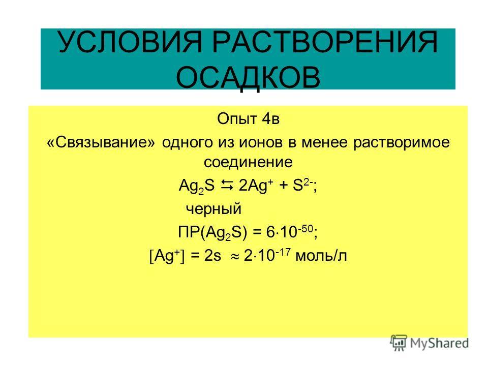 УСЛОВИЯ РАСТВОРЕНИЯ ОСАДКОВ Опыт 4в «Связывание» одного из ионов в менее растворимое соединение Ag 2 S 2Ag + + S 2- ; черный ПР(Ag 2 S) = 6 10 -50 ; Аg + = 2s 2 10 -17 моль/л