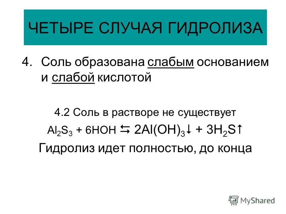 ЧЕТЫРЕ СЛУЧАЯ ГИДРОЛИЗА 4.Соль образована слабым основанием и слабой кислотой 4.2 Соль в растворе не существует Al 2 S 3 + 6HOH 2Al(OH) 3 + 3H 2 S Гидролиз идет полностью, до конца