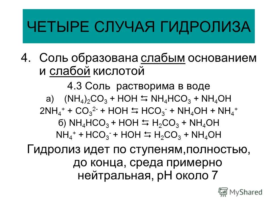 ЧЕТЫРЕ СЛУЧАЯ ГИДРОЛИЗА 4.Соль образована слабым основанием и слабой кислотой 4.3 Соль растворима в воде a)(NH 4 ) 2 CO 3 + HOH NH 4 HCO 3 + NH 4 OH 2NH 4 + + CO 3 2- + HOH HCO 3 - + NH 4 OH + NH 4 + б) NH 4 HCO 3 + HOH H 2 CO 3 + NH 4 OH NH 4 + + HC