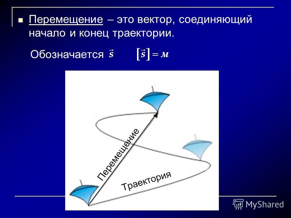 Перемещение – это вектор, соединяющий начало и конец траектории. Обозначается