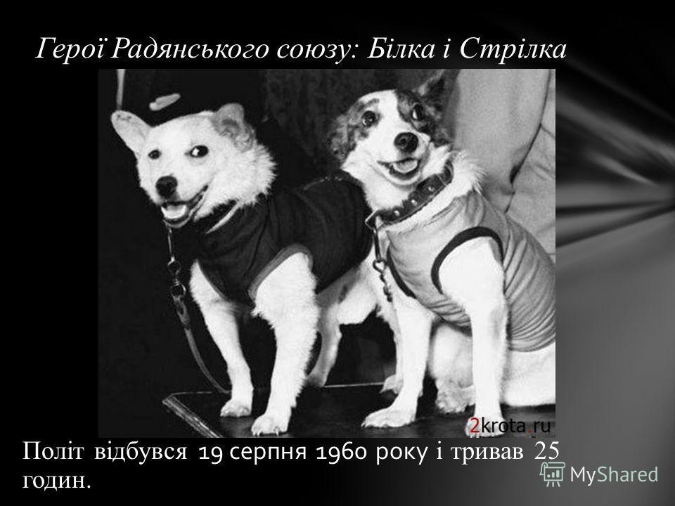 Політ відбувся 19 серпня 1960 року і тривав 25 годин. Герої Радянського союзу: Білка і Стрілка