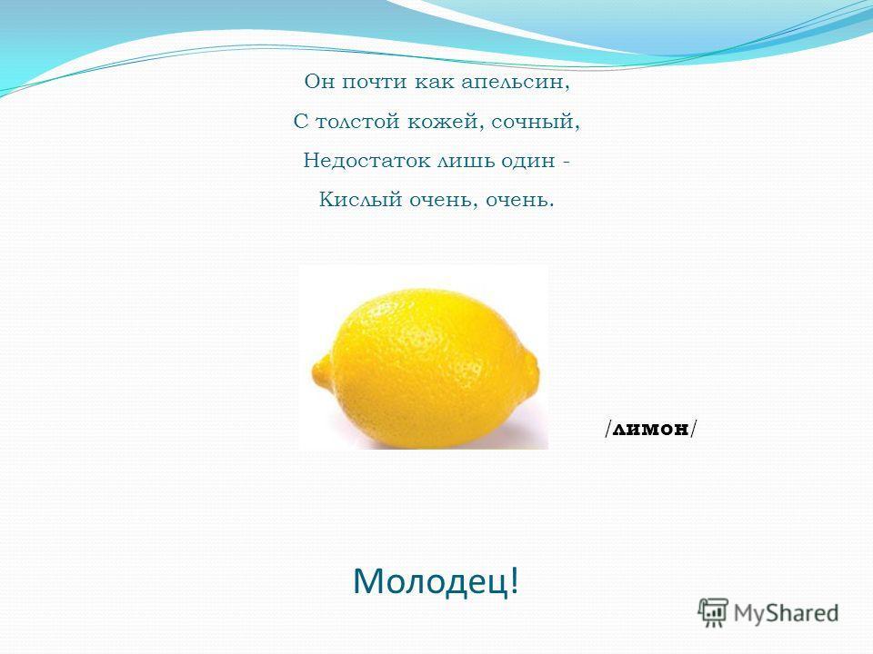 Он почти как апельсин, С толстой кожей, сочный, Недостаток лишь один - Кислый очень, очень. / лимон / Молодец!