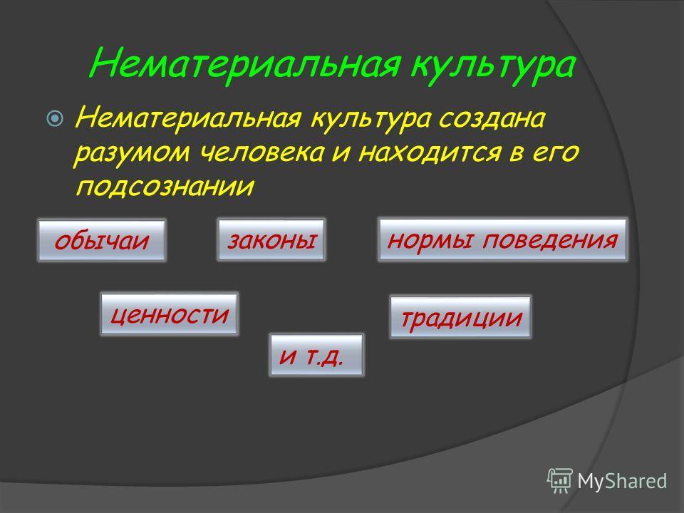 Нематериальная культура Нематериальная культура создана разумом человека и находится в его подсознании обычаи ценности законы традиции нормы поведения и т.д.