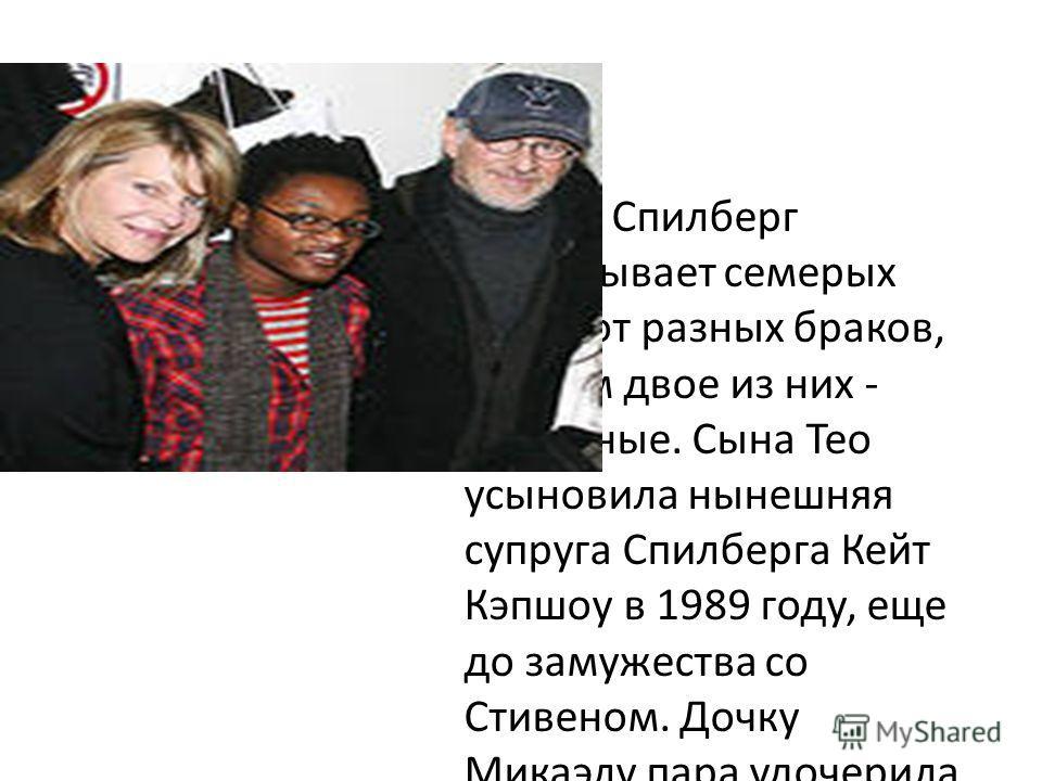 Стивен Спилберг воспитывает семерых детей от разных браков, причем двое из них - приемные. Сына Тео усыновила нынешняя супруга Спилберга Кейт Кэпшоу в 1989 году, еще до замужества со Стивеном. Дочку Микаэлу пара удочерила уже вместе.