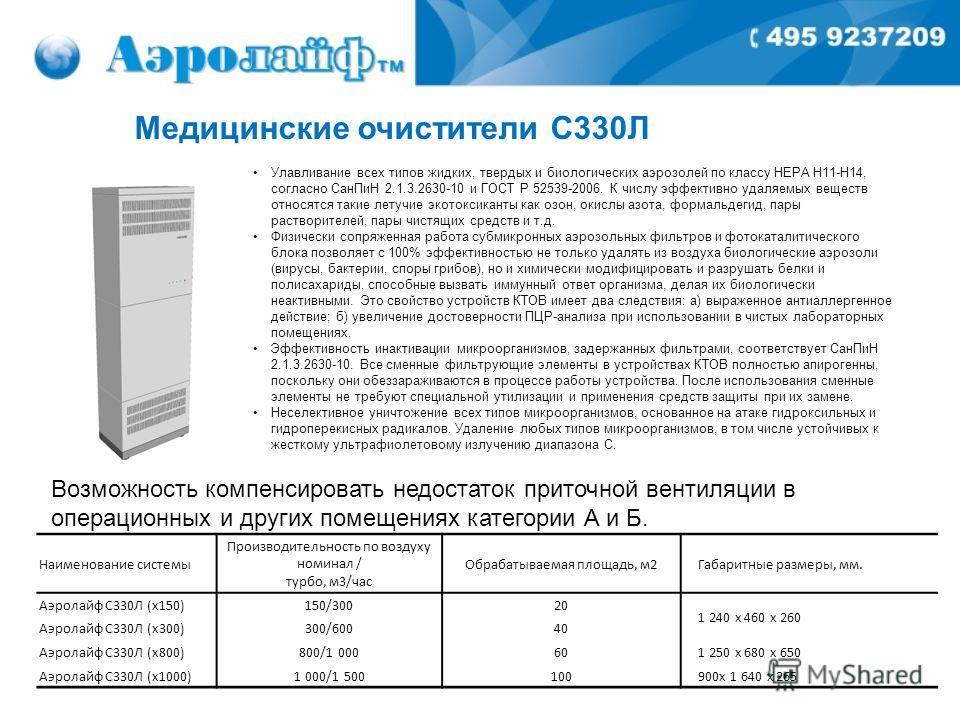 Медицинские очистители С330Л Улавливание всех типов жидких, твердых и биологических аэрозолей по классу НЕРА H11-H14, согласно СанПиН 2.1.3.2630-10 и ГОСТ Р 52539-2006. К числу эффективно удаляемых веществ относятся такие летучие экотоксиканты как оз