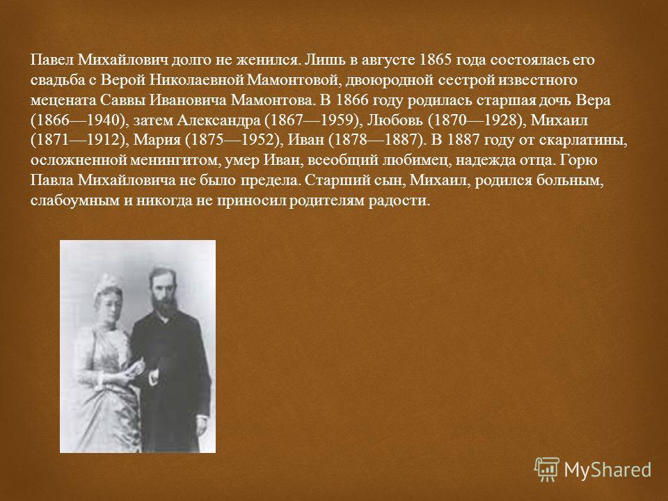 Павел Третьяков родился 15 (27) декабря 1832 г. в Москве, в купеческой семье. Получил домашнее образование, начал карьеру в торговле, работая с отцом. Развивая семейное дело, Павел вместе с братом Сергеем построил бумагопрядильные фабрики, на которых