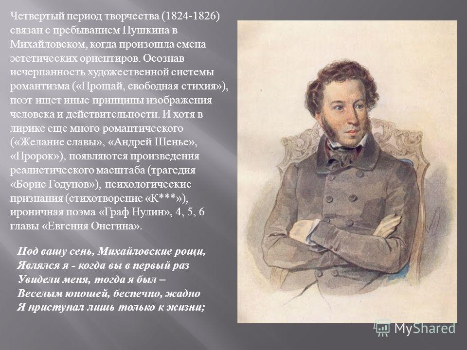 Под вашу сень, Михайловские рощи, Являлся я - когда вы в первый раз Увидели меня, тогда я был – Веселым юношей, беспечно, жадно Я приступал лишь только к жизни ; Четвертый период творчества (1824-1826) связан с пребыванием Пушкина в Михайловском, ког