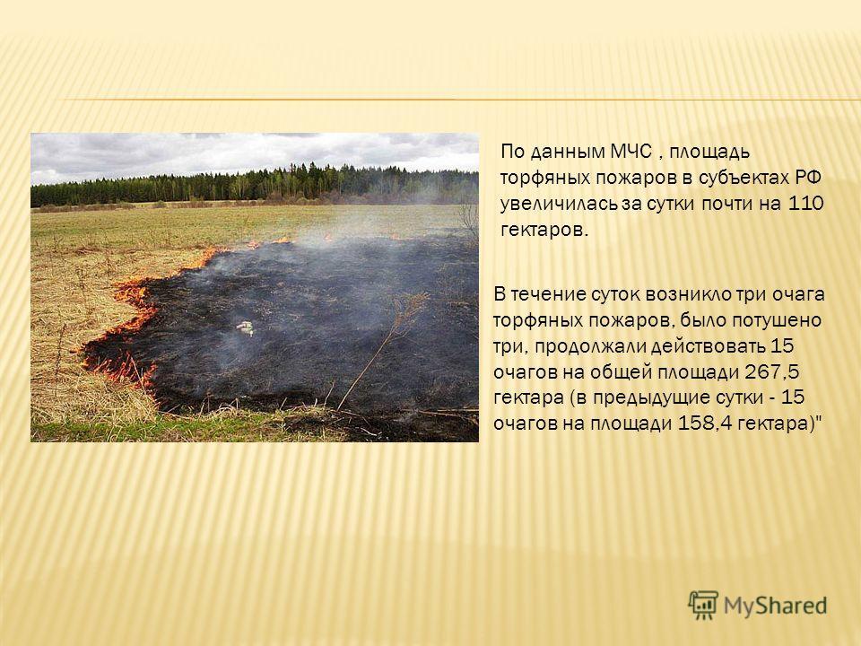 По данным МЧС, площадь торфяных пожаров в субъектах РФ увеличилась за сутки почти на 110 гектаров. В течение суток возникло три очага торфяных пожаров, было потушено три, продолжали действовать 15 очагов на общей площади 267,5 гектара (в предыдущие с