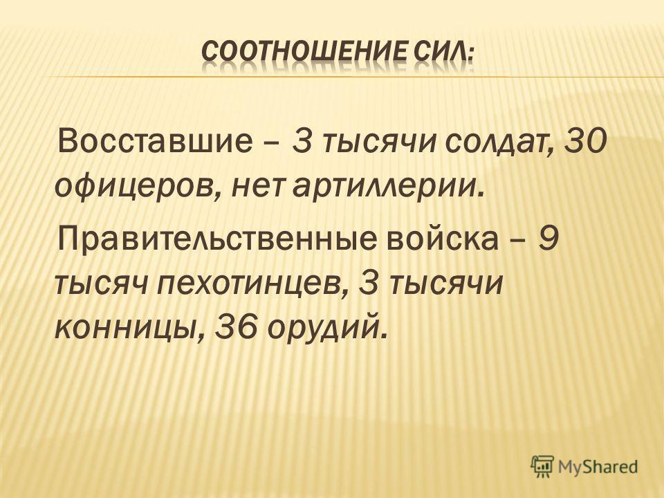 Восставшие – 3 тысячи солдат, 30 офицеров, нет артиллерии. Правительственные войска – 9 тысяч пехотинцев, 3 тысячи конницы, 36 орудий.