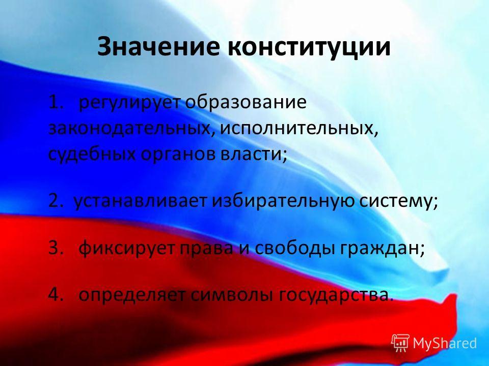 Значение конституции 1. регулирует образование законодательных, исполнительных, судебных органов власти; 2.устанавливает избирательную систему; 3. фиксирует права и свободы граждан; 4. определяет символы государства.