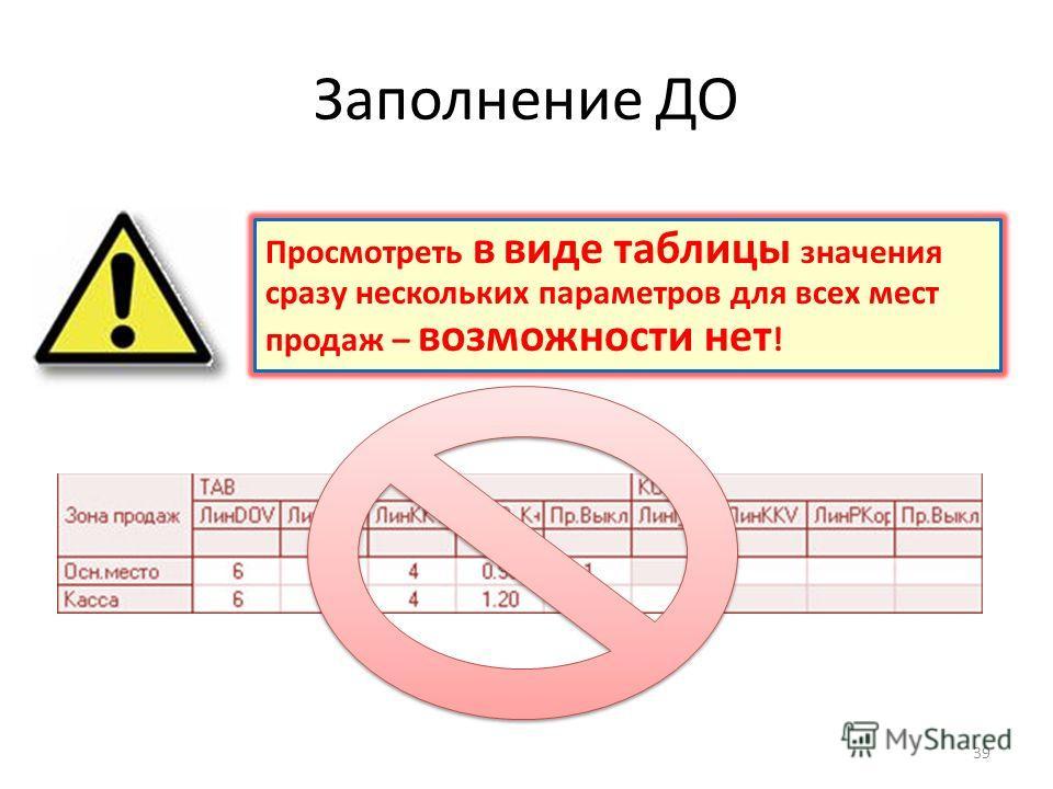 Заполнение ДО 39 Просмотреть в виде таблицы значения сразу нескольких параметров для всех мест продаж – возможности нет !