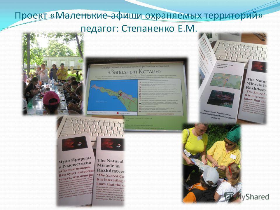 Проект «Маленькие афиши охраняемых территорий» педагог: Степаненко Е.М.