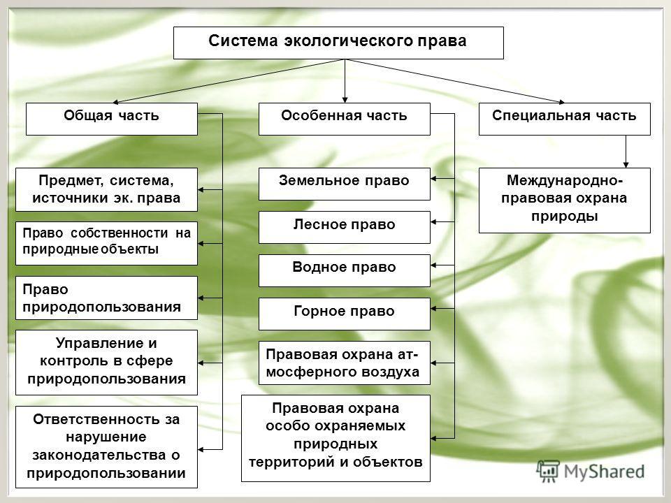 Система экологического права Общая частьОсобенная часть Предмет, система, источники эк. права Ответственность за нарушение законодательства о природопользовании Управление и контроль в сфере природопользования Право природопользования Земельное право