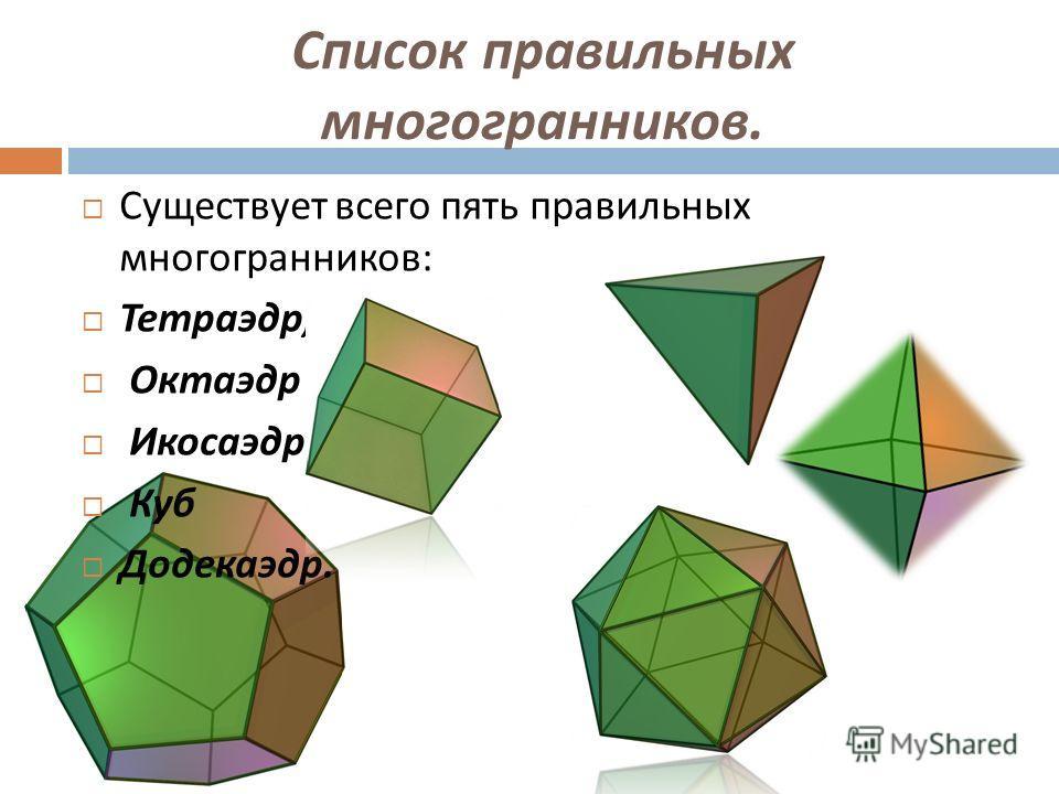 Список правильных многогранников. Существует всего пять правильных многогранников : Тетраэдр, Октаэдр Икосаэдр Куб Додекаэдр.