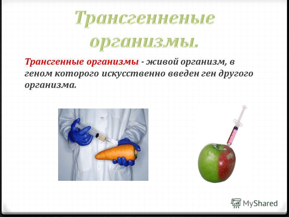 Трансгенные организмы - живой организм, в геном которого искусственно введен ген другого организма.