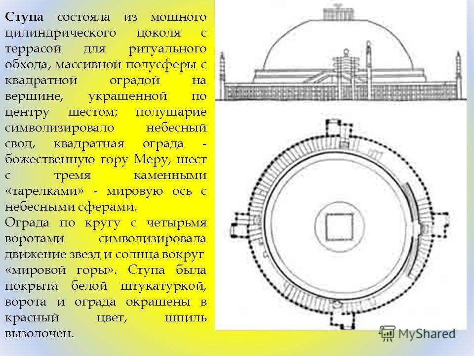 Ступа состояла из мощного цилиндрического цоколя с террасой для ритуального обхода, массивной полусферы с квадратной оградой на вершине, украшенной по центру шестом; полушарие символизировало небесный свод, квадратная ограда - божественную гору Меру,
