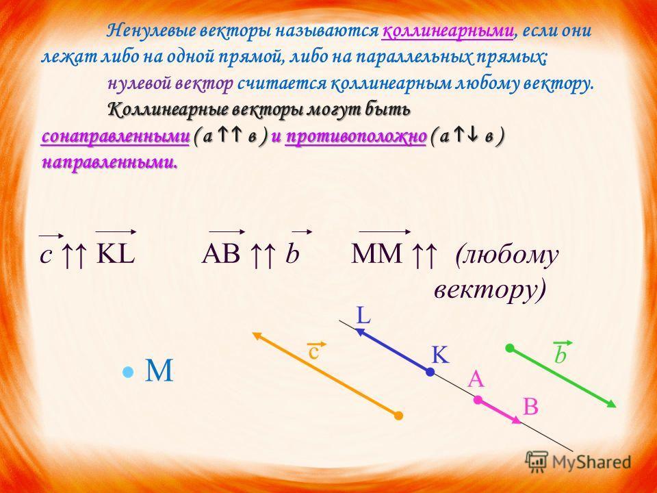 Коллинеарные векторы могут быть сонаправленными ( а в ) и противоположно ( а в ) направленными. Ненулевые векторы называются коллинеарными, если они лежат либо на одной прямой, либо на параллельных прямых; нулевой вектор считается коллинеарным любому