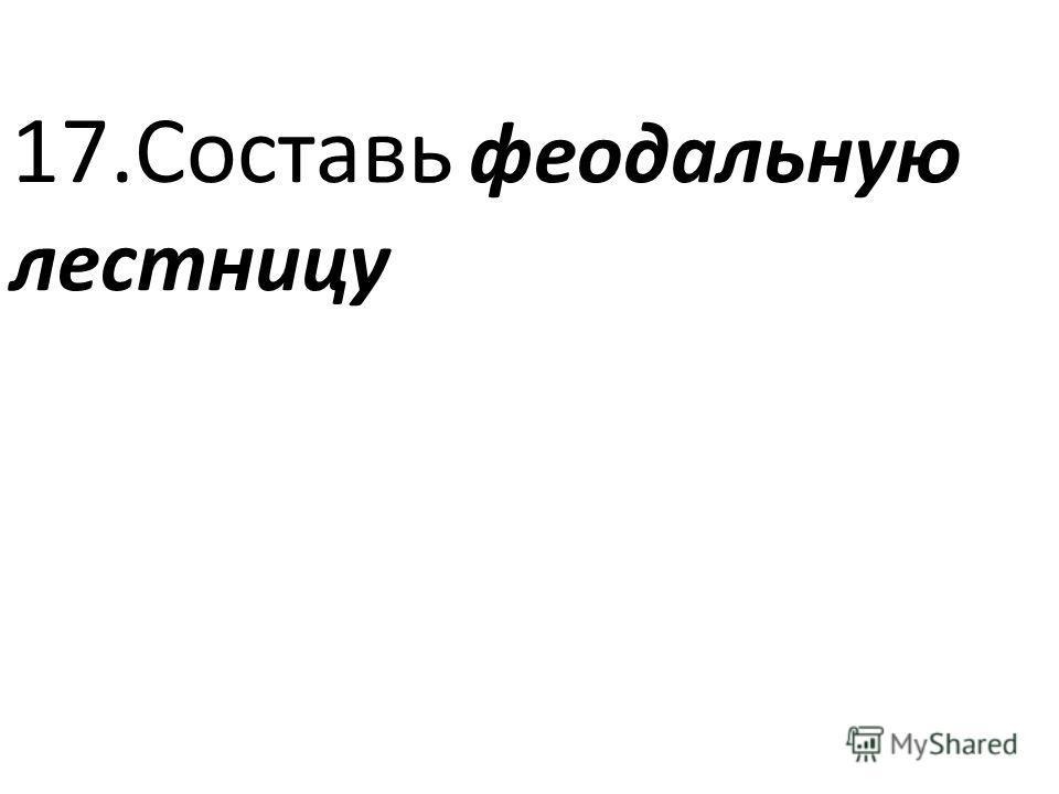 17.Составь феодальную лестницу