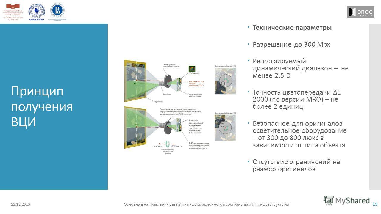 Принцип получения ВЦИ Технические параметры Разрешение до 300 Mpx Регистрируемый динамический диапазон – не менее 2.5 D Точность цветопередачи Е 2000 (по версии МКО) – не более 2 единиц Безопасное для оригиналов осветительное оборудование – от 300 до
