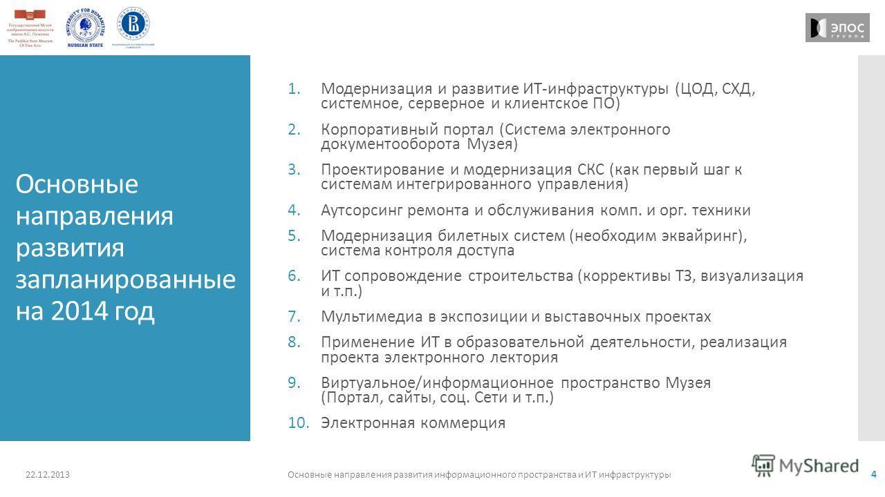 Основные направления развития запланированные на 2014 год 1.Модернизация и развитие ИТ-инфраструктуры (ЦОД, СХД, системное, серверное и клиентское ПО) 2.Корпоративный портал (Система электронного документооборота Музея) 3.Проектирование и модернизаци