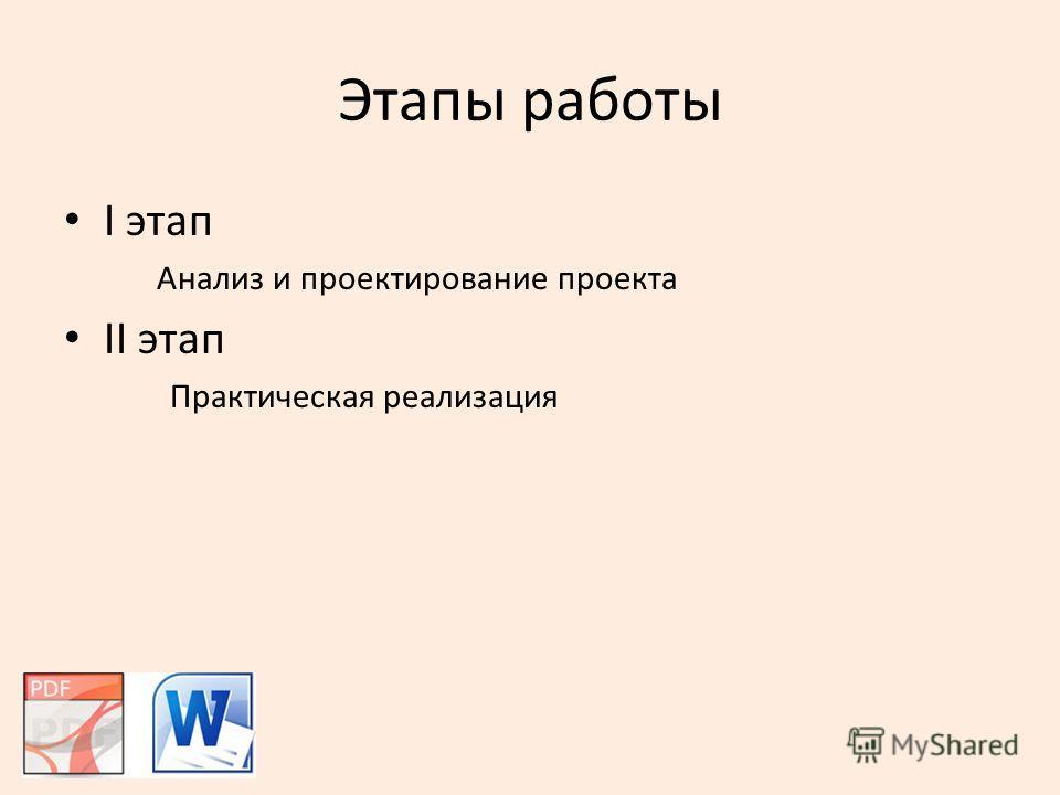 Этапы работы I этап Анализ и проектирование проекта II этап Практическая реализация