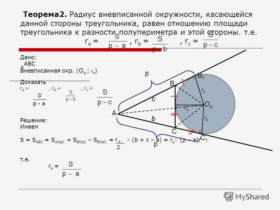 Теорема2. Радиус вневписанной окружности, касающейся данной стороны треугольника, равен отношению площади треугольника к разности полупериметра и этой стороны. т.е. r a =, r b =, r c = Дано: АВС Вневписанная окр. ( О а ; r a ) Доказать r a =, r b =,