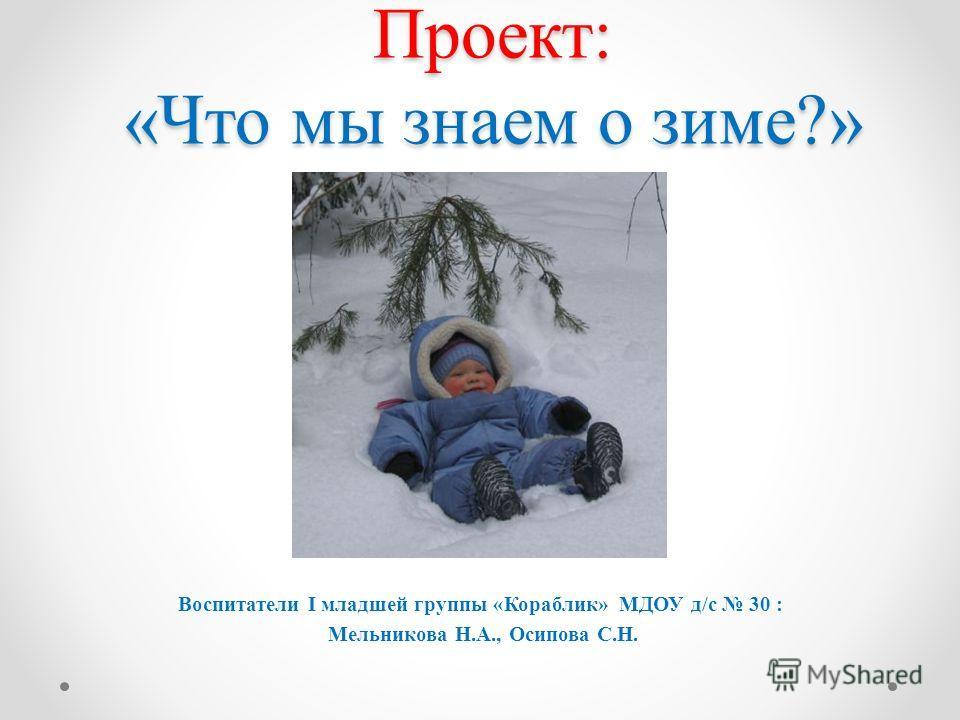 Проект: «Что мы знаем о зиме?» Воспитатели I младшей группы «Кораблик» МДОУ д/с 30 : Мельникова Н.А., Осипова С.Н.