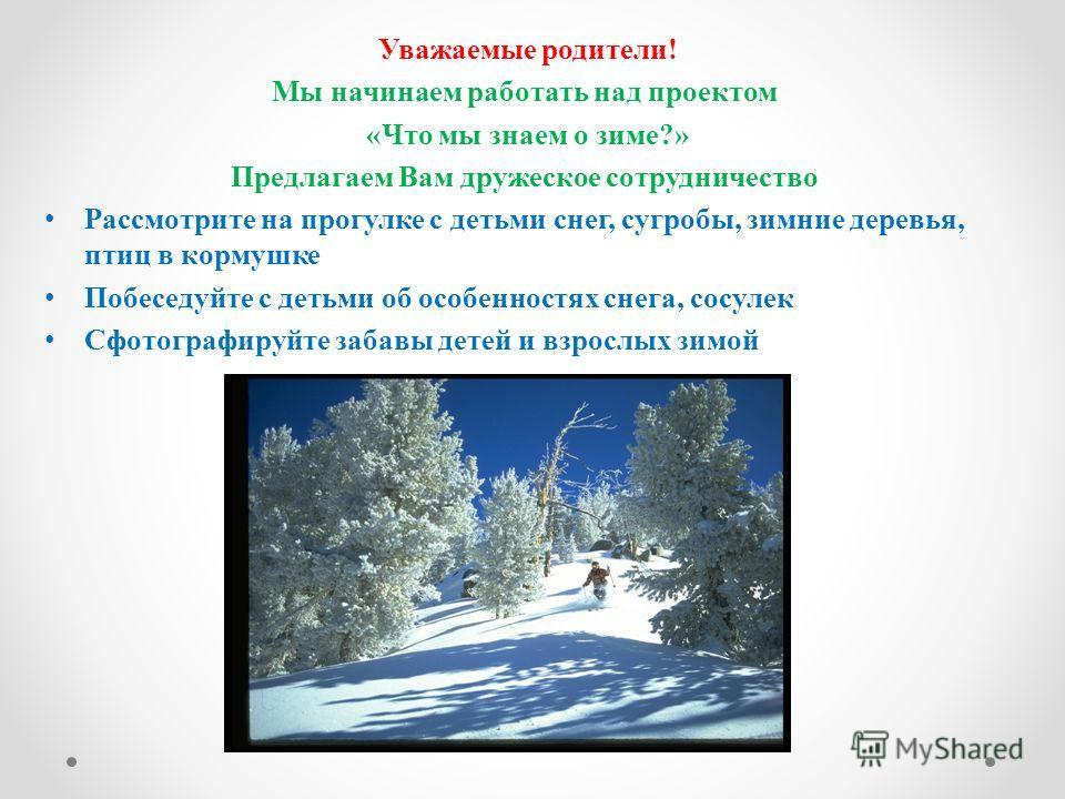 Уважаемые родители! Мы начинаем работать над проектом «Что мы знаем о зиме?» Предлагаем Вам дружеское сотрудничество Рассмотрите на прогулке с детьми снег, сугробы, зимние деревья, птиц в кормушке Побеседуйте с детьми об особенностях снега, сосулек С