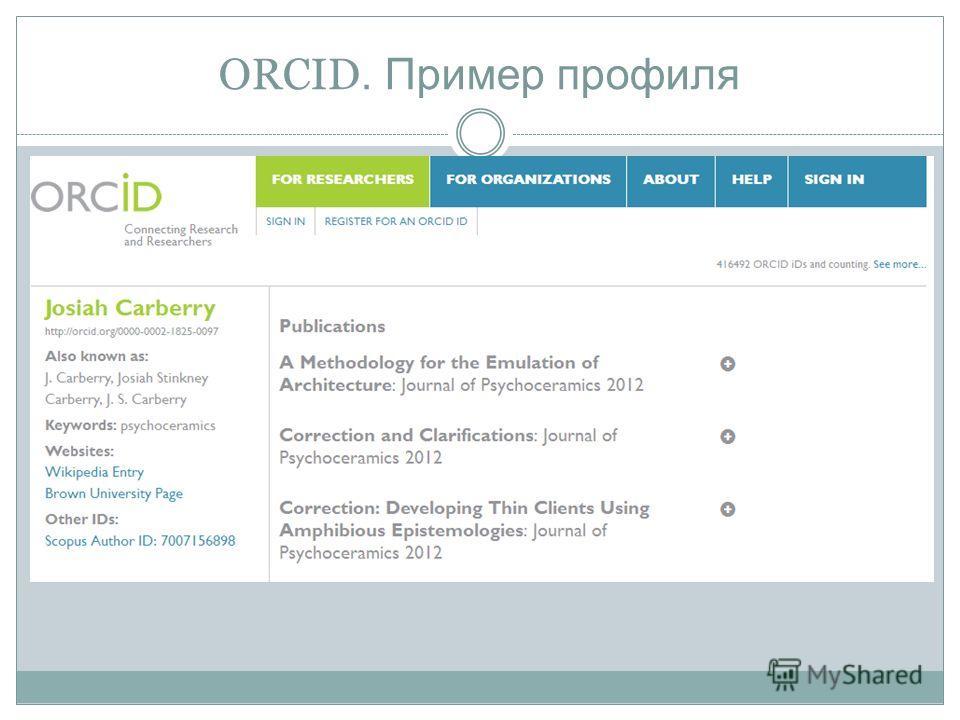 ORCID. Пример профиля