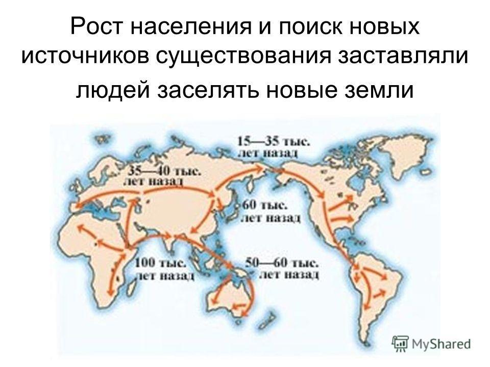 Рост населения и поиск новых источников существования заставляли людей заселять новые земли