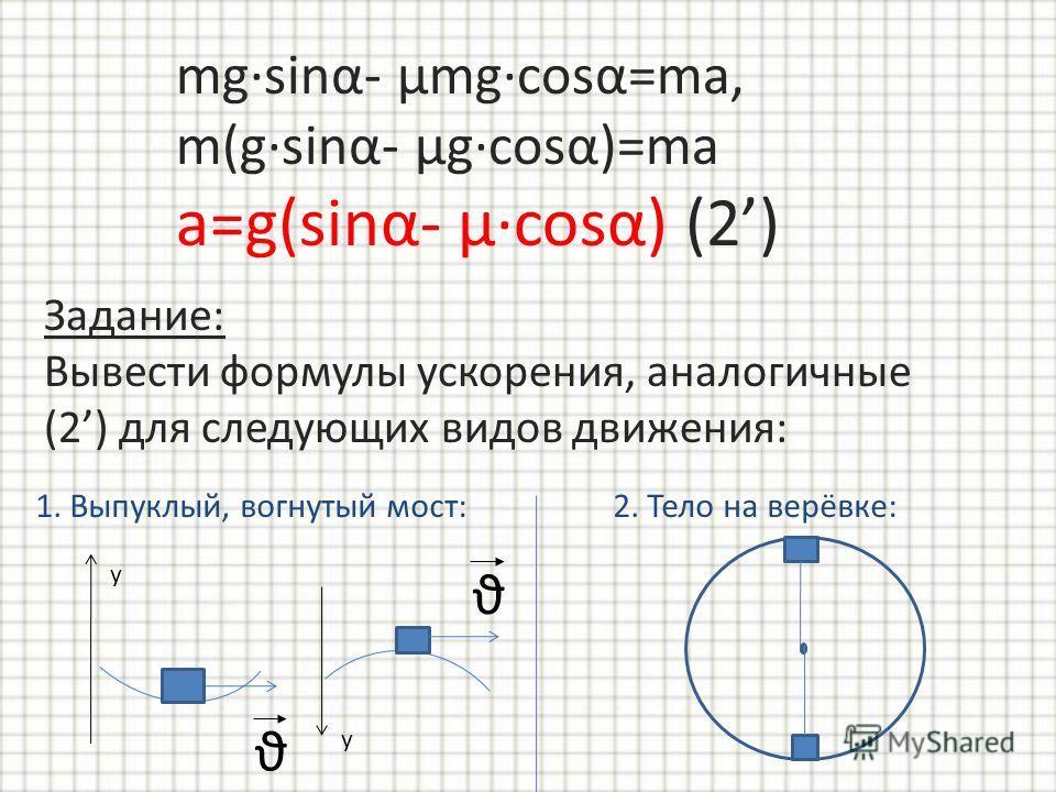 mgsinα- μmgcosα=ma, m(gsinα- μgcosα)=ma a=g(sinα- μcosα) (2) Задание: Вывести формулы ускорения, аналогичные (2) для следующих видов движения: 2. Тело на верёвке:1. Выпуклый, вогнутый мост: ϑ y ϑ y