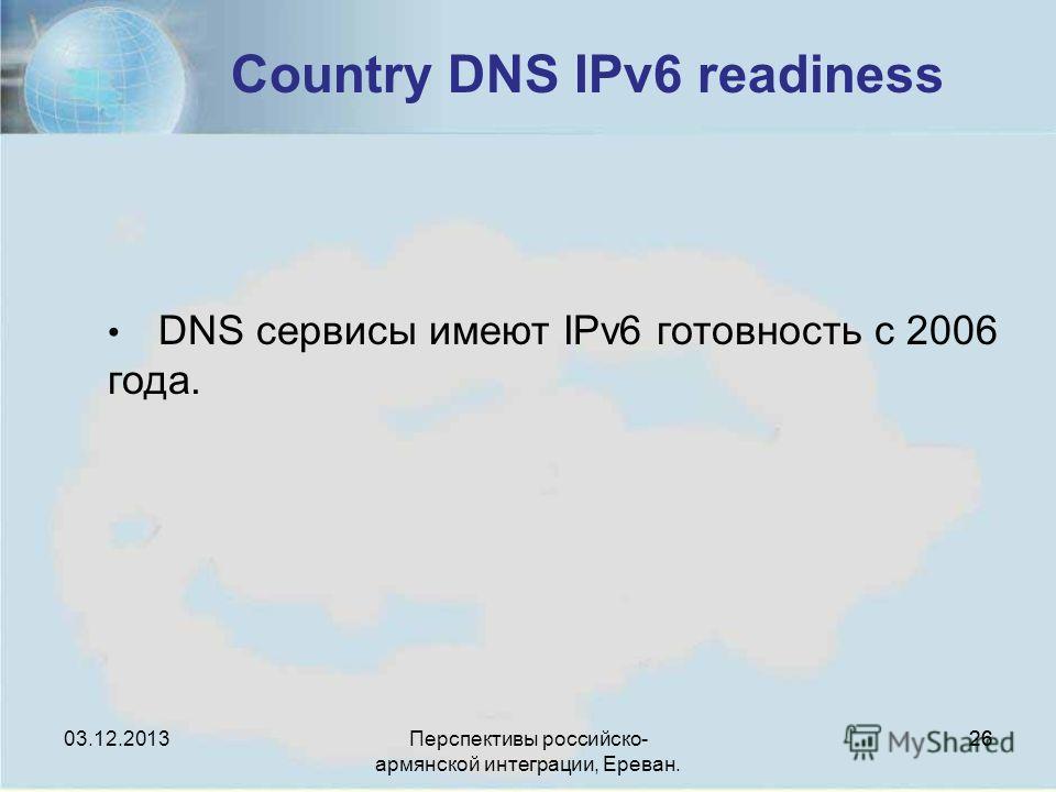 Перспективы российско- армянской интеграции, Ереван. 26 Country DNS IPv6 readiness DNS сервисы имеют IPv6 готовность с 2006 года. 03.12.2013